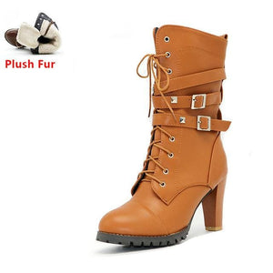 Taoffen Ladies Shoes Women Boots High Heels Platform Buckle Zipper Rivets Sapatos Femininos Lace Up Yellow Plush Fur / 6