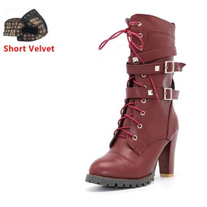 Taoffen Ladies Shoes Women Boots High Heels Platform Buckle Zipper Rivets Sapatos Femininos Lace Up Wine Red Short Velve / 6