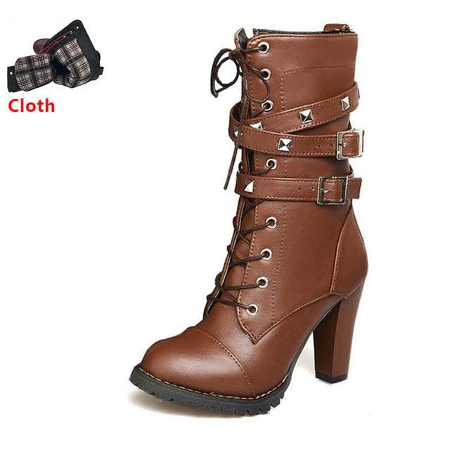 Taoffen Ladies Shoes Women Boots High Heels Platform Buckle Zipper Rivets Sapatos Femininos Lace Up Brown Cloth / 6