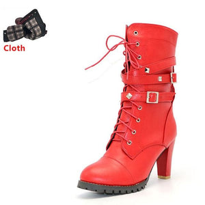 TAOFFEN Ladies shoes Women boots High heels Platform Buckle Zipper Rivets Sapatos femininos Lace up red cloth / 6