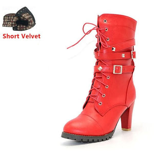 Taoffen Ladies Shoes Women Boots High Heels Platform Buckle Zipper Rivets Sapatos Femininos Lace Up Red Short Velvet / 6