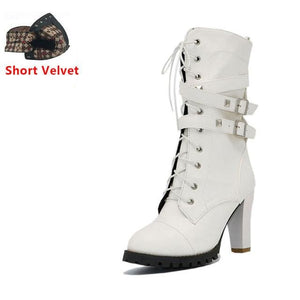 Taoffen Ladies Shoes Women Boots High Heels Platform Buckle Zipper Rivets Sapatos Femininos Lace Up White Short Velvet / 6