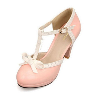 TAOFFEN Size 32-48 Women High Heel Sandals Round Toe Square Heels Shoes Womens Platform Sandals bow Pink / 11