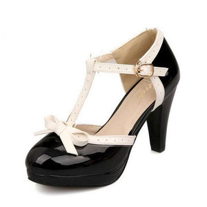 TAOFFEN Size 32-48 Women High Heel Sandals Round Toe Square Heels Shoes Womens Platform Sandals bow black / 11