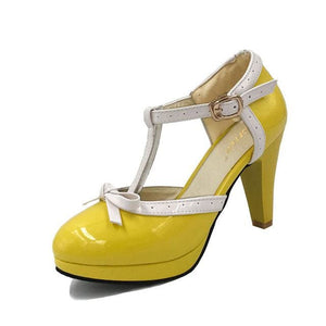 TAOFFEN Size 32-48 Women High Heel Sandals Round Toe Square Heels Shoes Womens Platform Sandals bow Yellow / 4