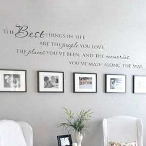 The Best Things In Life Vinyl wall decals ~ Love Memories Wall Quote Home Art Vinyl Decal Sticker.