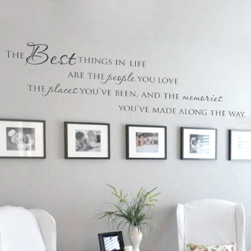 The Best Things In Life Vinyl wall decals ~ Love Memories Wall Quote Home Art Vinyl Decal Sticker