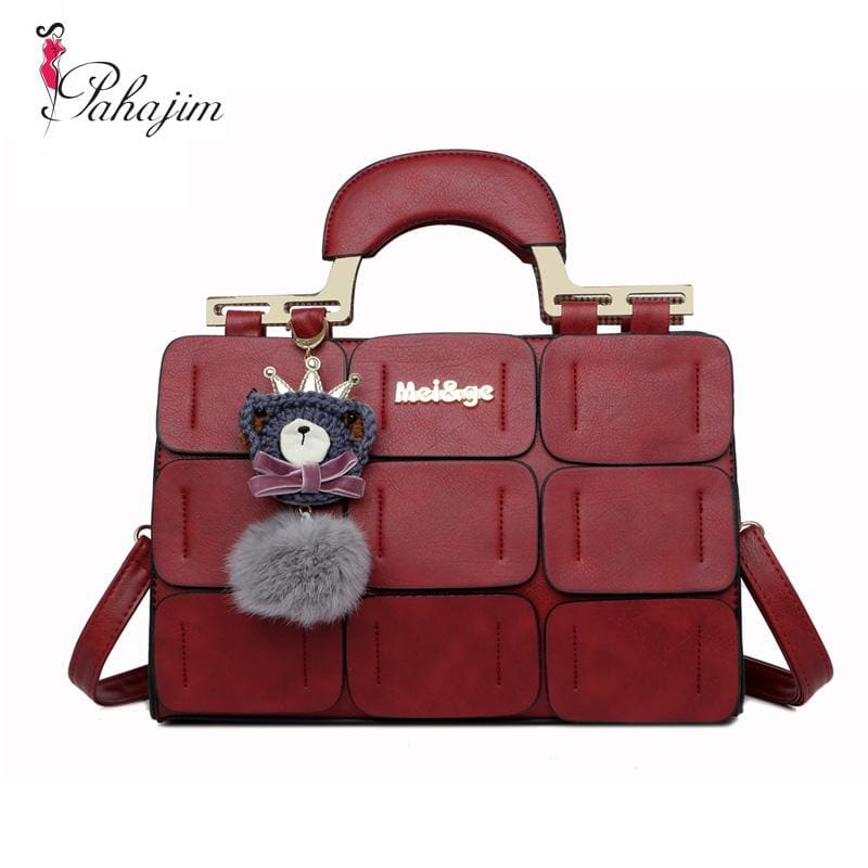 The New Spring/summer 2017 Women Bag Suture Boston Bag Inclined Shoulder Bag Women Leather Handbags