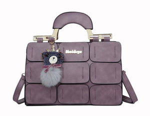 The New Spring/summer 2017 Women Bag Suture Boston Bag Inclined Shoulder Bag Women Leather Handbags Purple / China