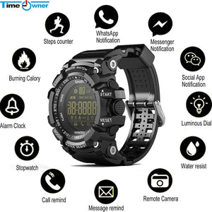 Time Owner Bluetooth Clock EX16 Smart Watch Notification Remote Control Pedometer Sport Watch IP67.
