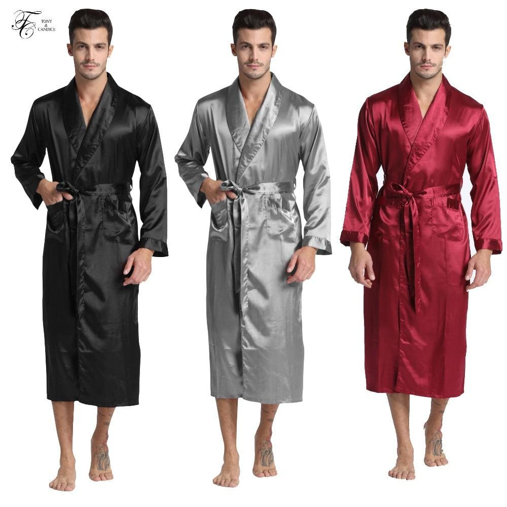 Tony&Candice Men's Silk Satin Bathrobe Robe Long Solid Silk Pajamas Men Silk Nightgown Sleepwear - MBMCITY