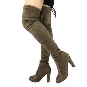 Top Faux Suede Women Thigh High Boots Stretch Slim Sexy Fashion Over the Knee Boots Female Shoes drak khaki / 5