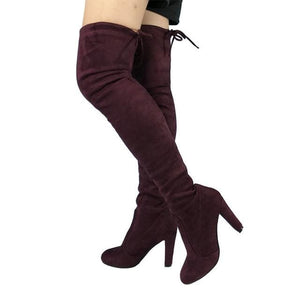 Top Faux Suede Women Thigh High Boots Stretch Slim Sexy Fashion Over the Knee Boots Female Shoes purple red / 5