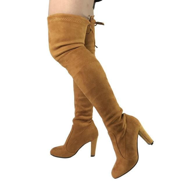 Top Faux Suede Women Thigh High Boots Stretch Slim Sexy Fashion Over the Knee Boots Female Shoes light brown / 5