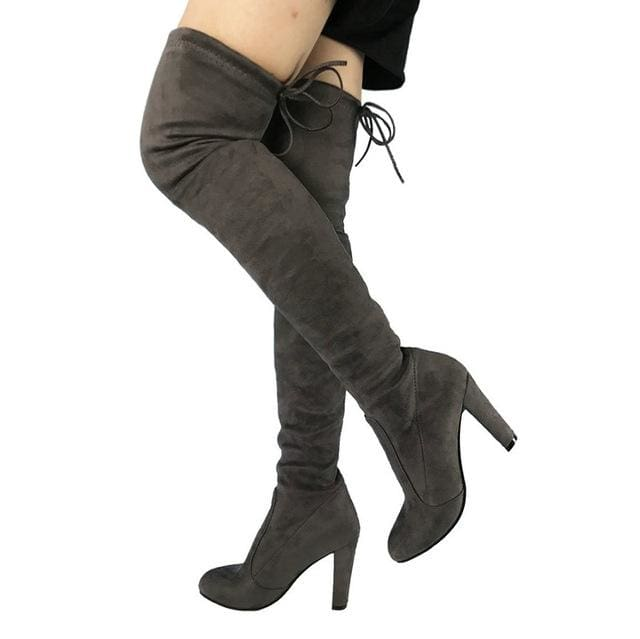 Top Faux Suede Women Thigh High Boots Stretch Slim Sexy Fashion Over the Knee Boots Female Shoes Dark Gray / 5
