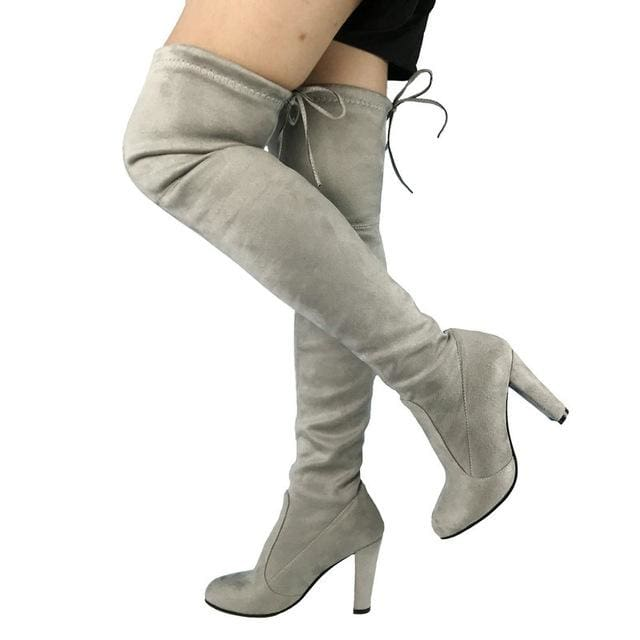 Top Faux Suede Women Thigh High Boots Stretch Slim Sexy Fashion Over the Knee Boots Female Shoes Light Gray / 5