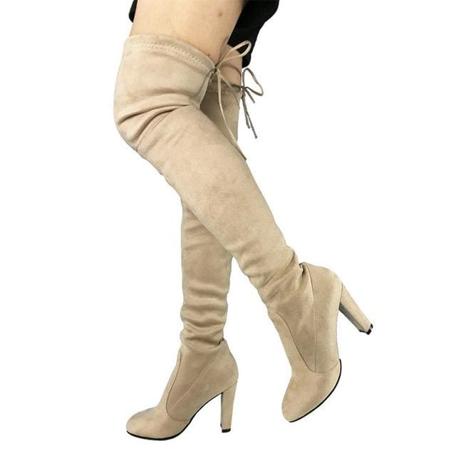 Top Faux Suede Women Thigh High Boots Stretch Slim Sexy Fashion Over the Knee Boots Female Shoes apricot / 5