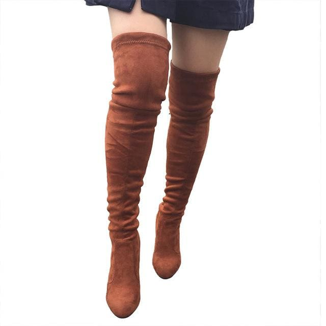 Top Faux Suede Women Thigh High Boots Stretch Slim Sexy Fashion Over the Knee Boots Female Shoes dark brown / 5