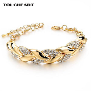 TOUCHEART Braided Gold color Leaf Bracelets & Bangles With Stones Luxury Crystal Bracelets For Women