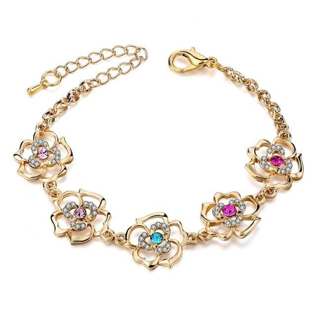 TOUCHEART Braided Gold color Leaf Bracelets & Bangles With Stones Luxury Crystal Bracelets For Women GOLD FLOWER