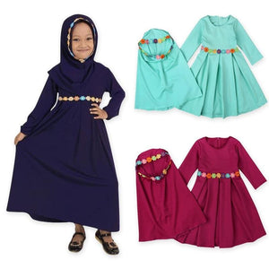 Two Sets Traditional Flower Kids Clothing Fashion Child Abaya Muslim Girl Dress Jilbab And Abaya