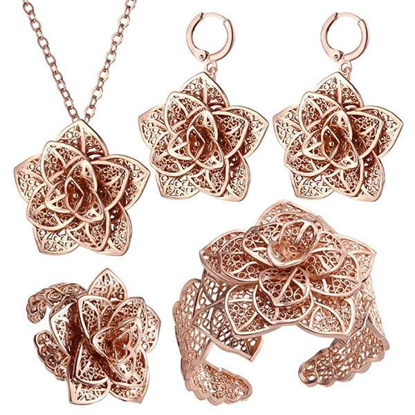 U7 Vintage Big Flower Jewelry Sets Gold Color Necklace Cuff Bracelet Earrings And Ring Bridal - MBMCITY