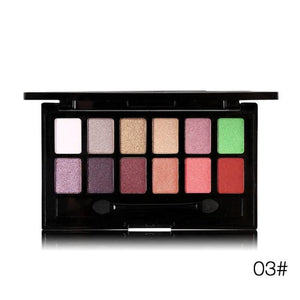 Ucanbe 12 Colors Pro Nude Earth Color Makeup Eyeshadow Palette with Brush Smoky Eye Shadow Shimmer 02