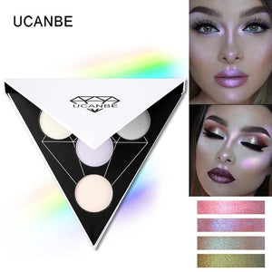 Ucanbe Brand Triangle Glitter Eyeshadow Palette Holographic Shade Eye Lip Face Makeup Shimmer Shine