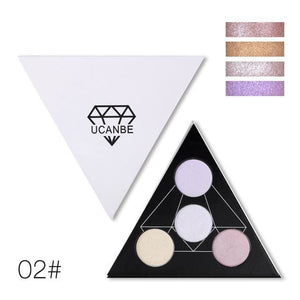 Ucanbe Brand Triangle Glitter Eyeshadow Palette Holographic Shade Eye Lip Face Makeup Shimmer Shine 01