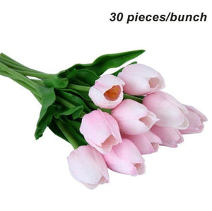Umiwe 10/30pcs PU Fake Artificial Silk Tulips Flores Artificiales Bouquets Party Artificial Flowers 30pcs Pink