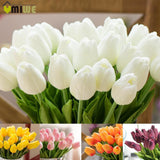 Umiwe 10/30pcs PU Fake Artificial Silk Tulips Flores Artificiales Bouquets Party Artificial Flowers