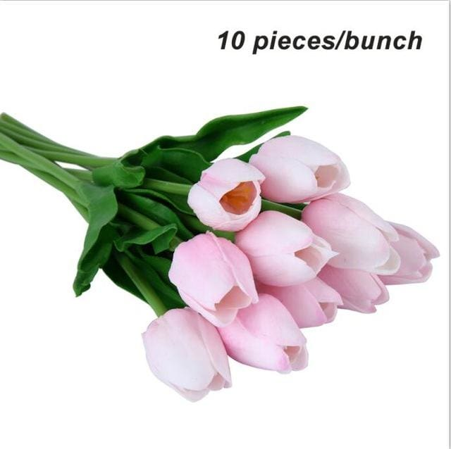 Umiwe 10/30pcs PU Fake Artificial Silk Tulips Flores Artificiales Bouquets Party Artificial Flowers 10pcs Pink