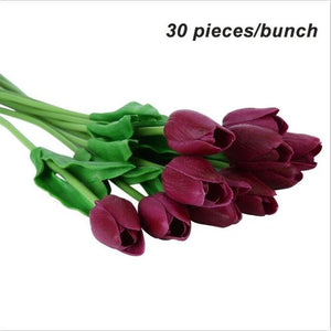 Umiwe 10/30pcs PU Fake Artificial Silk Tulips Flores Artificiales Bouquets Party Artificial Flowers 30pcs Wine Red