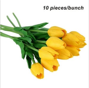 Umiwe 10/30pcs PU Fake Artificial Silk Tulips Flores Artificiales Bouquets Party Artificial Flowers 10pcs Yellow