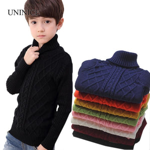 Uninice Infant Baby Sweater Winter Warm Children Sweater For Boys Girls Knitted Turtleneck Pullover