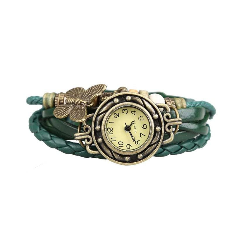 Unique Butterfly jewelry Watch  Clock Women Vintage Retro Rivet Braided Bracelet Leather Strap Lady