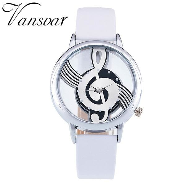 Unique Women Quartz Analog Hollow Musical Note Style Leather WristWatch Ladies Gfit Casual Watch - MBMCITY
