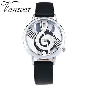 Unique Women Quartz Analog Hollow Musical Note Style Leather WristWatch Ladies Gfit Casual Watch white