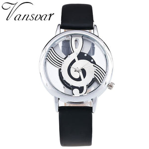 Unique Women Quartz Analog Hollow Musical Note Style Leather WristWatch Ladies Gfit Casual Watch.