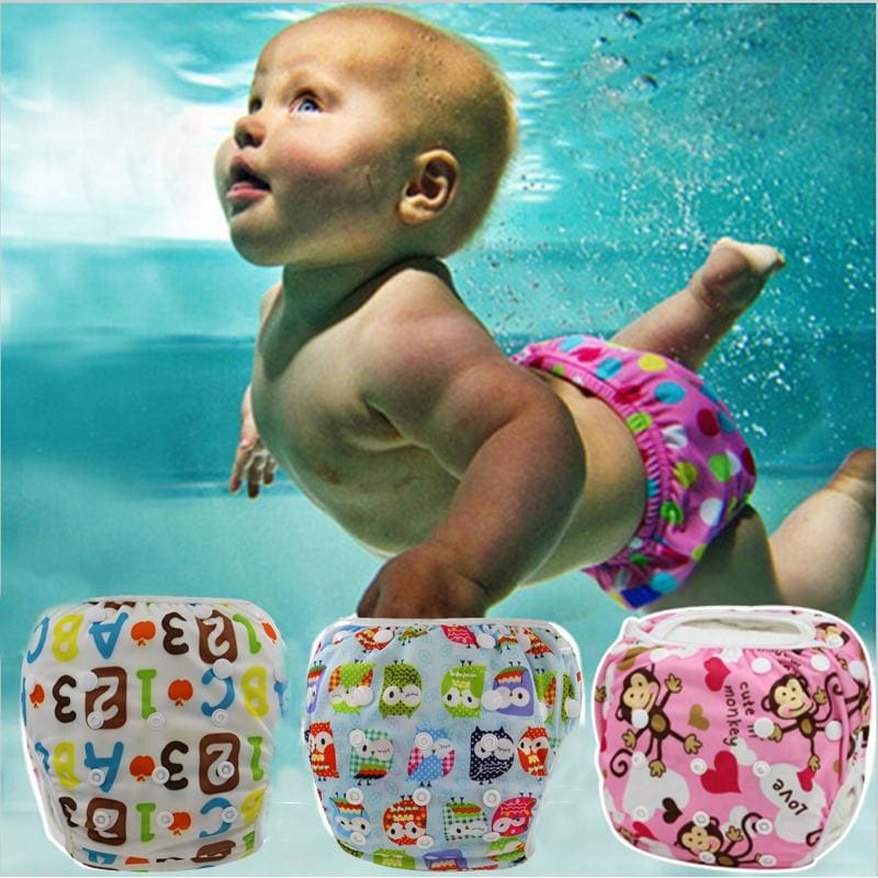 Unisex One Size Waterproof Adjustable Swim Diaper Pool Pant 10-40 Lbs Swim Diaper Baby Reusable