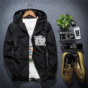 US SIZE New Men Brand Clothing Sportswear Men Fashion Thin Windbreaker Jacket Zipper Coats Outwear - MBMCITY