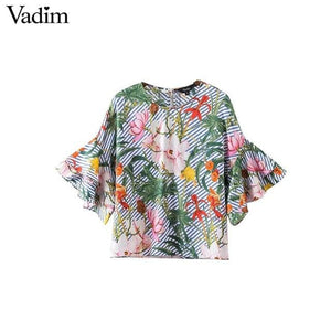 Vadim women sweet ruffles loose floral shirts short sleeve o neck blouse European style flower print - MBMCITY