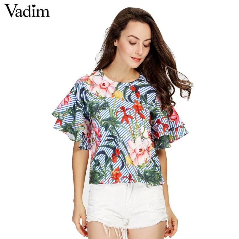 Vadim Women Sweet Ruffles Loose Floral Shirts Short Sleeve O Neck Blouse European Style Flower Print