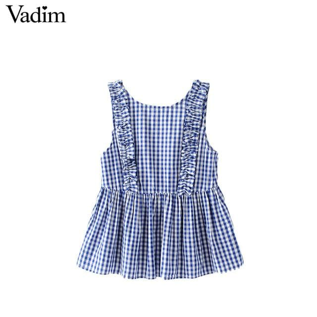 Vadim Women Sweet Ruffles Plaid Pleated Shirts Buttons Sleeveless Backless Checked Blouse Ladies As Picture 1 / L / China