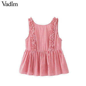 Vadim women sweet ruffles plaid pleated shirts buttons sleeveless backless checked blouse ladies