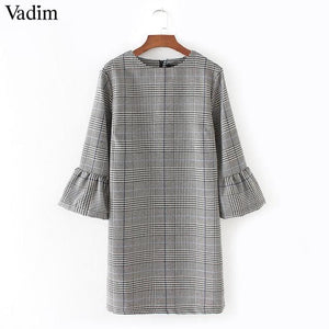 Vadim Women Vintage Flare Sleeve Houndstooth Dress Basic Plaid Bell Sleeve Brand Autumn Mini Dresses As Picture 1 / L