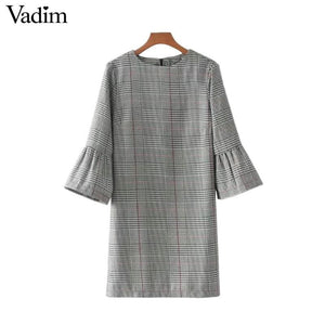 Vadim Women Vintage Flare Sleeve Houndstooth Dress Basic Plaid Bell Sleeve Brand Autumn Mini Dresses