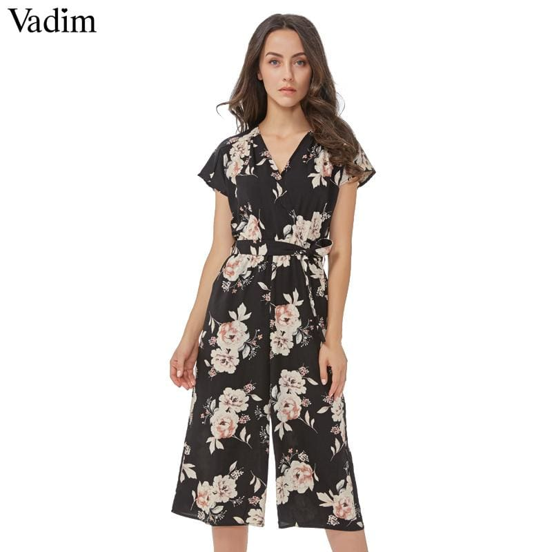Vadim women vintage V neck floral jumpsuits wide leg pants sashes pleated elastic waist rompers