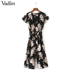 Vadim women vintage V neck floral jumpsuits wide leg pants sashes pleated elastic waist rompers - MBMCITY