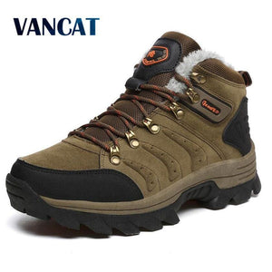 VANCAT Big size New Men Boots for Men Winter Snow Boots Warm Fur&Plush Lace Up High Top Fashion Men - MBMCITY